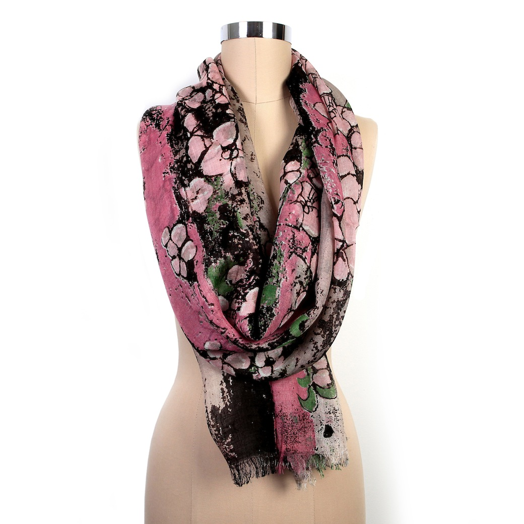 Pink Floral Blossom Scarf